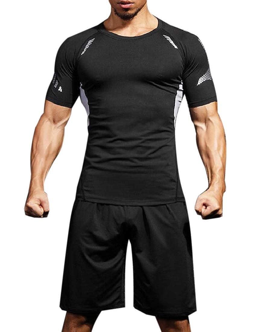 RDHOPE-Men Jammer Short Pants for Fitness Short Sleve Compression Baselayer