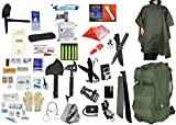 4 Person Supply 5 Day Emergency Bug Out S.O.S. Food Rations, Drinking Water, LifeStraw Personal Filter, First Aid Kit, Tent, Blanket, OD Backpack, OD Poncho + Essential 21 Piece Survival Gear Set