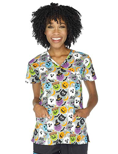 I Love Scrubs Women's Halloween Nurses Medical Scrub Top ()