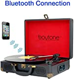 Boytone BT-101B Bluetooth Turntable Briefcase Record player AC-DC, Built in Rechargeable Battery, 2 Stereo Speakers 3-speed, LCD Display, FM Radio, USB/SD Slot, AUX / MP3, Encoding, 110 To 220 Volt.