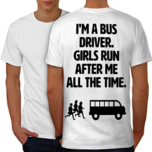 wellcoda Handsome Bus Driver Mens T-Shirt, Girls Design Print on The Back White 2XL