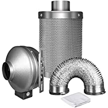 "iPower 4 Inch 190 CFM Duct Inline Fan 4"" Carbon Filter 8 Feet Ducting Combo Grow Tent Ventilation"
