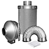 iPower 4 Inch 190 CFM Duct Inline Fan with 4'' Carbon Filter 8 Feet Ducting Combo for Grow Tent Ventilation
