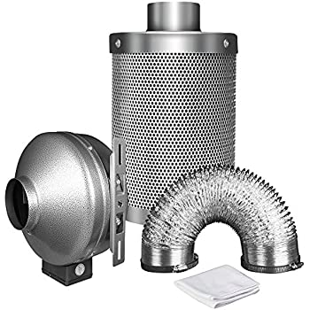 "iPower 6 Inch 442 CFM Duct Inline Fan with 6"" Carbon Filter 25 Feet Ducting Combo for Grow Tent Ventilation"