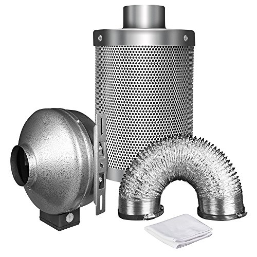 "iPower 6 Inch 442 CFM Duct Inline Fan with 6"" Carbon Filter 8 Feet Ducting Combo for Grow Tent Ventilation"