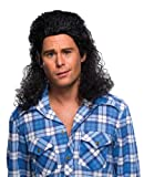 Rubie's Costume Humor Perm Mullet Long Wig, Black, One Size image