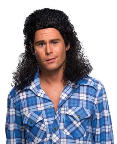 [Rubie's Costume Humor Perm Mullet Long Wig, Black, One Size] (Perm Wigs)