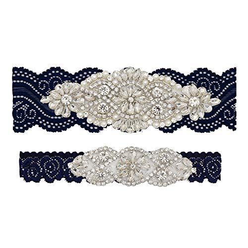 (Yanstar Wedding Bridal Garter Navy Stretch Lace Bridal Garter Sets with Silver Rhinestones Clear Crystal Pearl for)