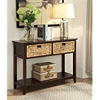 Major-Q Console Table with 2 Drawers and Open Storage for Dining/Kitchen / Living Room, Rectangular, Wood Rustic and Espresso Finish, 44 x 16 x 28