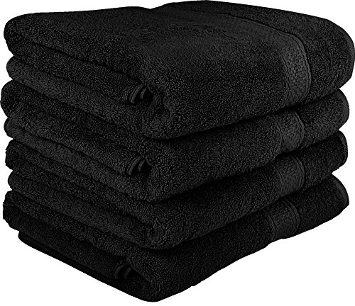 Utopia Towels 700 GSM Cotton 27-Inch-by-54-Inch  Bath Towel Set, Set of 4, Black