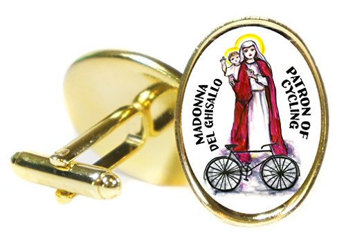 Madonna Del Ghisallo Patron of Cycling 18x24mm (3/4'' X 1'') Oval Gold Pair of Cuff Links by Artisan Courtyard