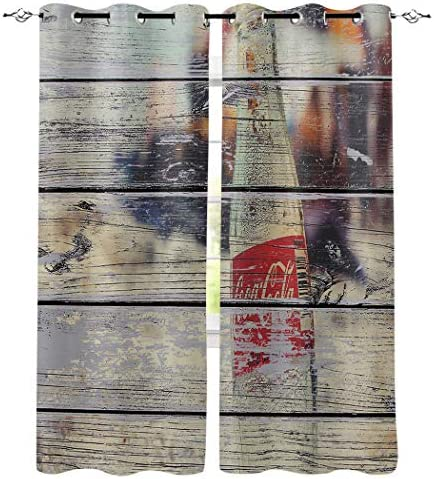 Window Treatments Curtains Room Window Panel Set for Living Dining Bedroom, Coke Bottle Rustic Wooden Plank 52 by 84 Inch, 2 Panels
