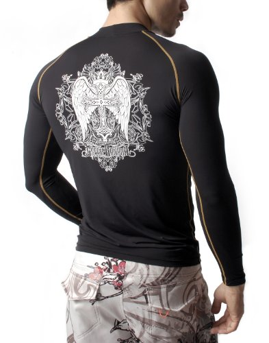 Green Banana Engels Flügel Design Langarm Rundkragen Rash Guard Sport MMA Surfen Strand Slim Fit T-shirt Tee