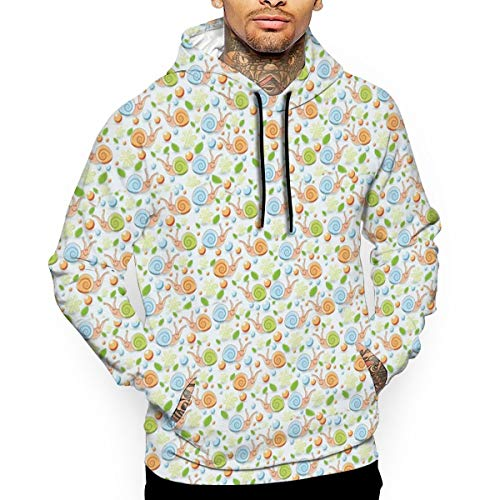 Cute Snails Pattern Man's Long Sleeve Hoodie Casual Pocket Hooded Sweatshirt L