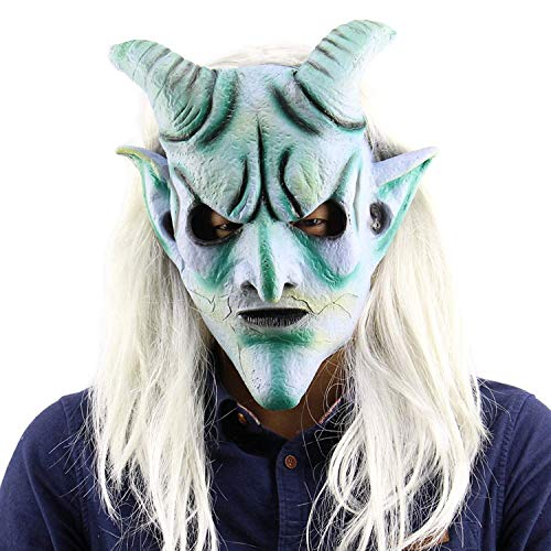 Halloween Fearsome Costume Party Props,Long Hair Devil Mask(Sheepshead
