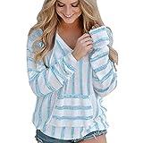 Hot Sale!Women Blouse ,FeiXiang♈ Women's Stripe Loose Long Sleeve Jumper Sweater Ladies Casual Knitwear Tops (S, Sky Blue)