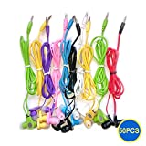 Gadget.Cool 3.5mm Color Earphones - Pack of 50 Wholesale Bundle, 8 Assorted Colors, Standard Sound Quality, Soft Silicon In Ear Tips, Simple and Inexpensive, Compatible with 3.5mm Audio Jack (50pcs)
