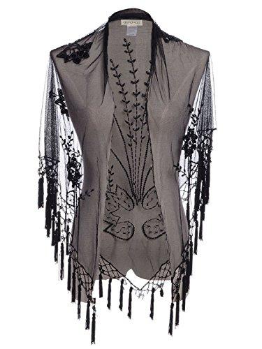 Anna - Kaci Black Floral Heart Fringe Tassel Bead Mesh Shawl Cover Up Cardigan, Black, Small / medium