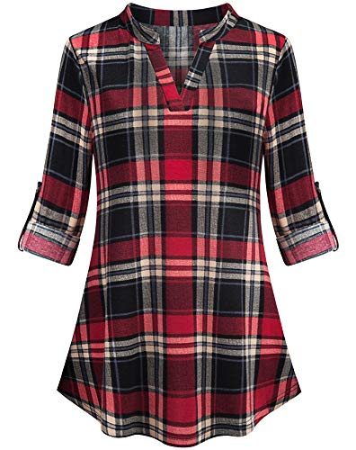 Ouncuty 3 4 Tunics for Women Plus Size,Ladies Western Gorgeous 70S Unique Vneck Long Sleeve Shirt Wear to Work Maxi Silky Lined Tartan Blouse Shirt for Vacation Holiday Travel Outfit Black Red Beige L ()