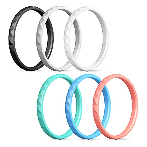 Egnaro Silicone Wedding Rings for Women,Diamond Pattern-6 Rings Pack - Black,Turquoise,White,Silver,Coral,Blue (Turquoise Band Coral)