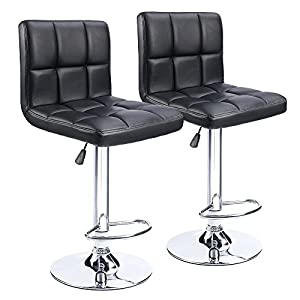 Homall-Modern-PU-Leather-Adjustable-Swivel-Barstools-Armless-Hydraulic-Kitchen-Counter-Bar-Stools-Synthetic-Leather-Extra-Height-Square-Island-Bar-Stool-with-Back-Set-of-2Black