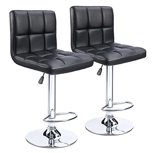 Homall Modern PU Leather Adjustable Swivel Barstools, Armless Hydraulic Kitchen Counter Bar Stools Synthetic Leather Extra Height Square Island Bar Stool with Back Set of 2(Black) ()