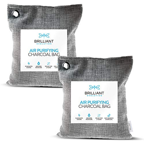 2 Pack 220G Natural Bamboo Charcoal Air Purifying Bag | Home & Car Air Freshener | Activated Charcoal Odor Eliminators for Closets, Bathrooms, Pet Areas, RV | Moisture Absorber | Closet Deodorizer