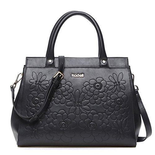 Kadell Ladies Leather Handbag Top Handle Satchel Tote Purse for Women Embroidery Flower Bag Black Black