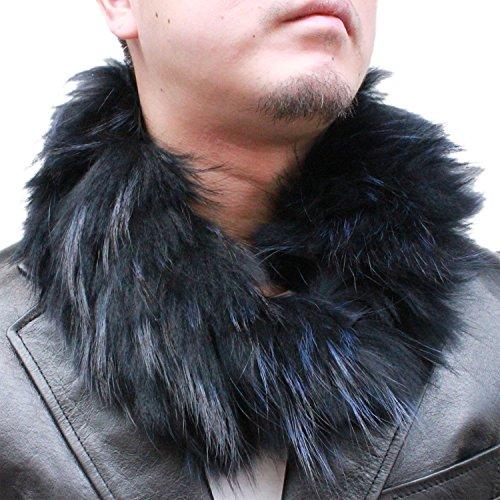 【 ファーマフラー メンズ】 チャイナラクーンネックウォーマー 3971 ファーマフラー・毛皮マフラー・天然毛皮・ラクーン(タヌキ)・マフラー 6cm幅(ネイビー)