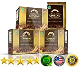PureGano American Ginseng Coffee Latte - 100% Arabica Instant Coffee - 200mg American Ginseng to Enhance Mental & Physical Performance, Natural Energy & Boost Immune System 3 Box 30 Day Supply
