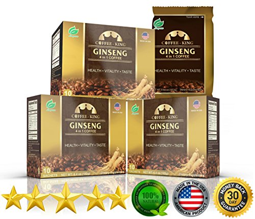 - PureGano American Ginseng Coffee Latte - 100% Arabica Instant Coffee - 200mg American Ginseng to Enhance Mental & Physical Performance, Natural Energy & Boost Immune System 3 Box 30 Day Supply