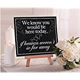"""We Know You Would Be Here Today, If Heaven Weren't So Far Away"" Memorial Wedding Sign"