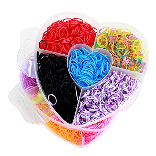 (Kennedy Children Rubber Loom Bands Toy Cute 3 Layer Love Shape Case-Color Random)