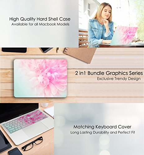 TOP CASE – 2 in 1 Bundle Deal Floral Pattern Rubberized Hard Case + Keyboard Cover Compatible with Apple MacBook Air 13'' (13'' Diagonally) Model: A1369 / A1466 - Pink Peony on Turquoise Base by TOP CASE (Image #3)