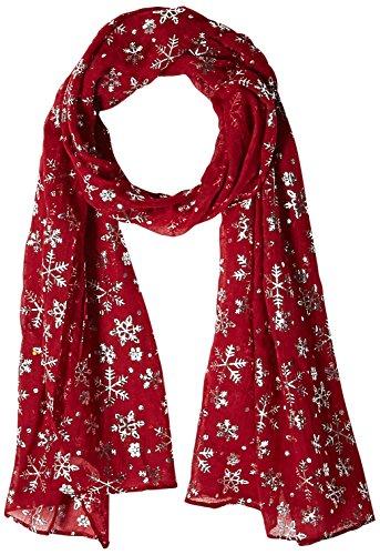 Alora Snowflake Splendor Designer Scarf, Red/Silver, One Size