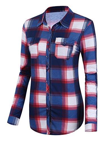 (Urban CoCo Women's Classic Plaid Shirt Button Down Long Sleeve Blouse (S, 2))