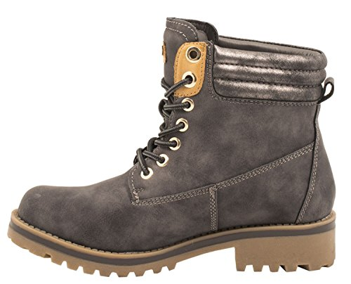 Worker Stivaletti Donna Elara Profilo Stringata Grau Suola Boots zxOqf1