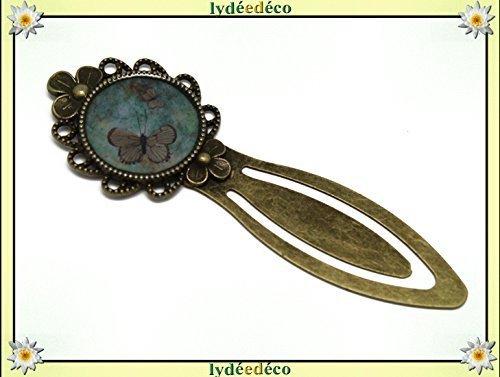 Libro segnalibro Resina Retro Farfalla Verde Marrone Ottone Bronzo
