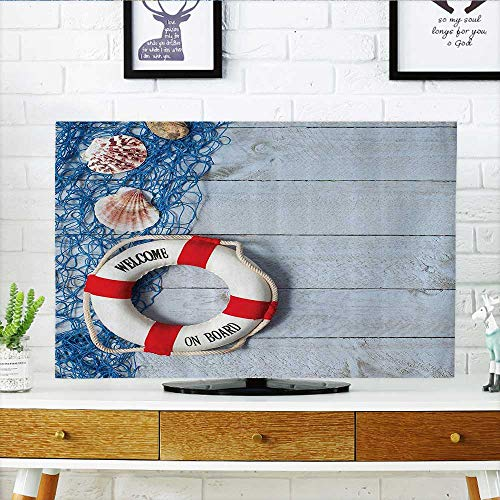L-QN Protect Your TV Welcome Board Message Lifebuoy with Fishing NSeashell Wood Floor of Boat Protect Your TV W36 x H60 INCH/TV 65