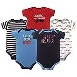 Luvable Friends Baby Infant Basic Bodysuit, 5 Pack, Heart Breaker, 3M(0-3 Months)