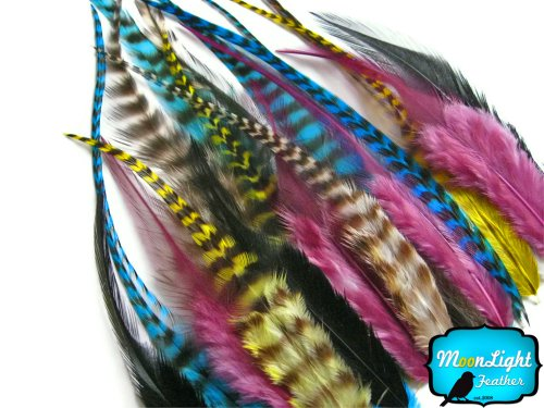 Hair Feathers ; 2 Dozen - SHORT PIXIE MIX Grizzly Rooster for sale  Delivered anywhere in USA