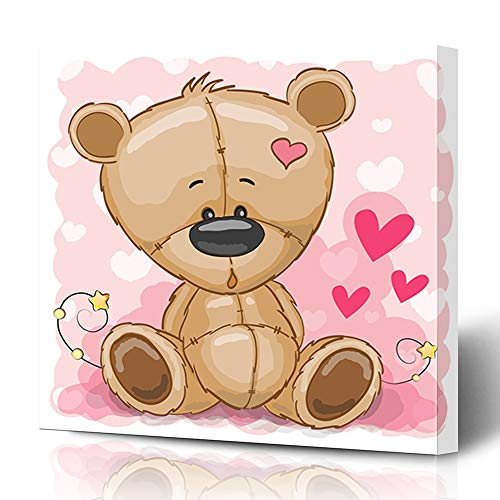 Ahawoso Canvas Prints Wall Art 12x16 Inches Front Brown Black Drawing Teddy Bear On Fur Pink Cute Babies Characters Childhood Children Design Decor for Living Room Office Bedroom ()
