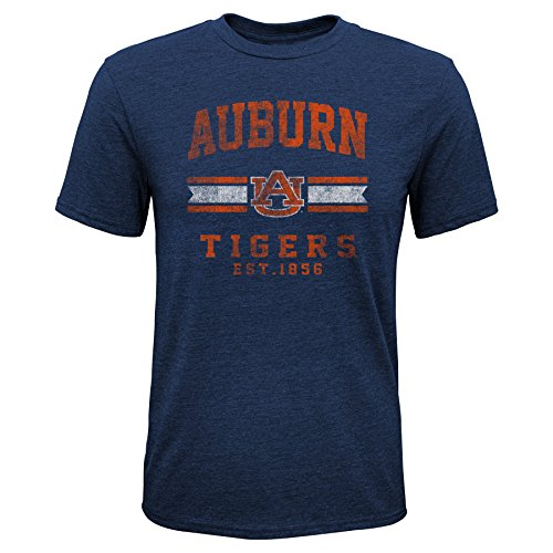 Gen 2 NCAA Auburn Tigers Youth Boys Player Pride Tri-Blend Tee, Youth Boys Medium(10-12), Navy