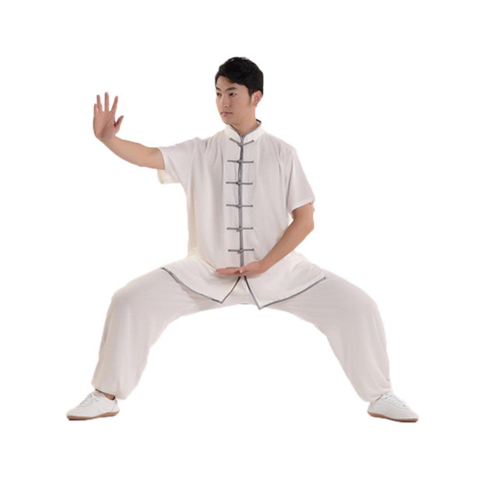 ZooBoo Unisex Short Sleeve Taichi Uniform Summer Kungfu Clothing Cotton Blend Martial Art Sets (L, White&Gray) by ZooBoo