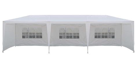 Tente de jardin pergola 3x9m Massilia toile blanche barnum ...