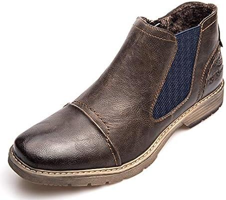 d2f7aa736c477 XPER Men's Chelsea Boots Fashion Brown Thin Fur Lining Dress Winter ...