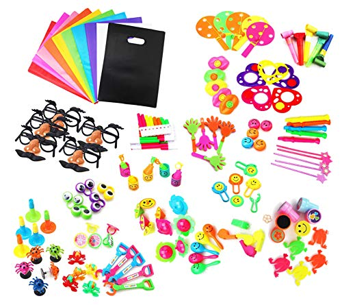 SKKSTATIONERY Party Favors Set of 135 Pcs, Include Party Favor Bags 10Pcs- Birthday Party, Goodie Bag, Piñata Filler, Toy Assortment for - Set Bags Favor