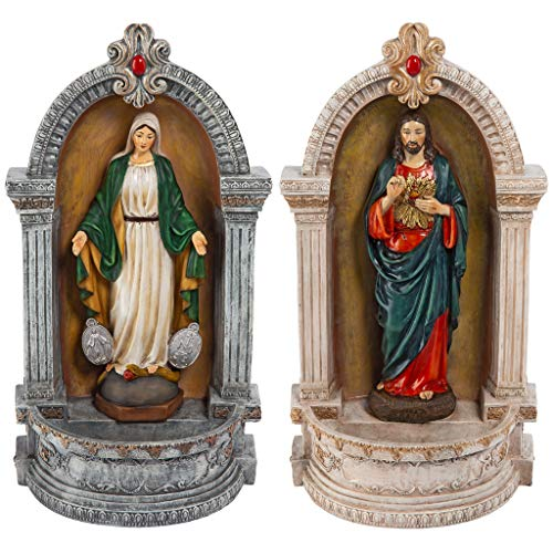 Design Toscano Holy Family Devotionals: Italian-Style Font Statue, 12 Inch, Set of Two, Full Color (Statue Miraculous Medal)
