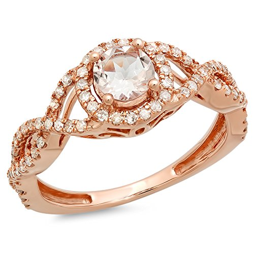 10K Rose Gold 5 MM Round Morganite & Diamond Ladies Split Shank Halo Engagement Ring (Size 6.5) Solid 10k Gold Shank