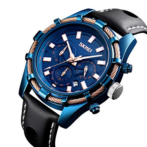 LIBINA Waterproof Men's Timer Watch Sports Wristwatches Luminous Stopwatch Timing Date Quartz Watches with Leather ()